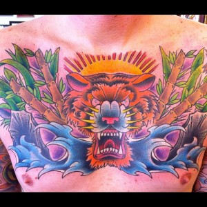 Men Chest tattoo by Geno