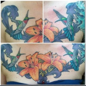women chest tattoo