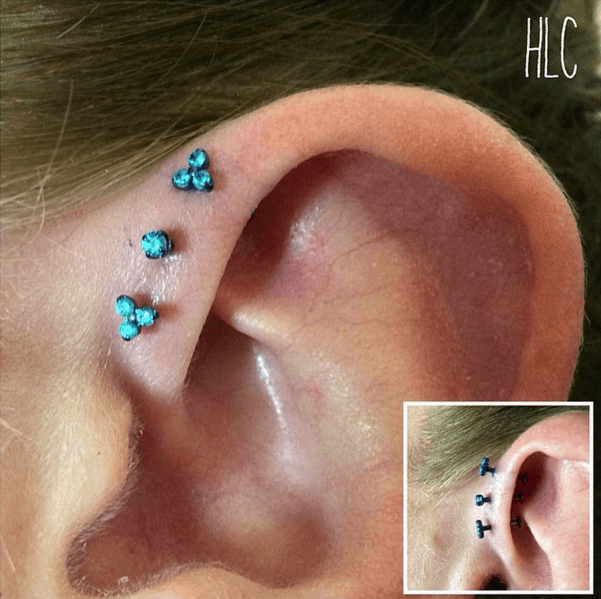 Triple forward helix by Lil Chris with Neometal Jewelry