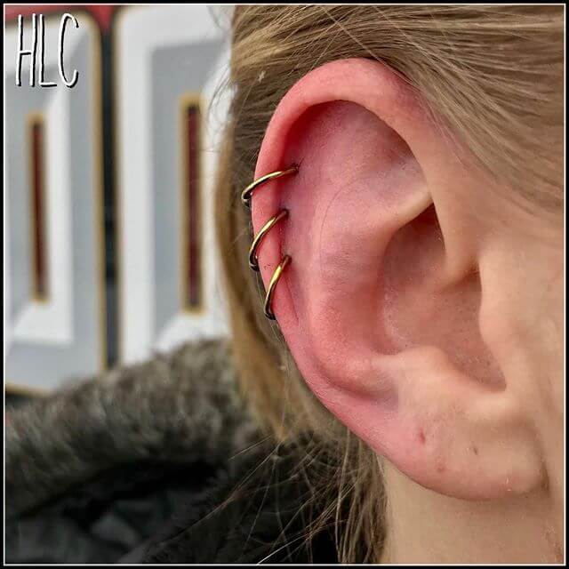 Triple Ear Piercings By Little Chirs Best Tattoo Piercing Shop Tattoo Artists In Denver